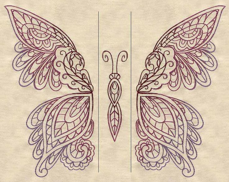 Mendhika Butterfly (Split) | Urban Threads: Unique and Awesome Embroidery Designs  Lace pattern use?  (This design is for machine embroidery, but it could easily be a pattern for several kinds of handmade lace.)