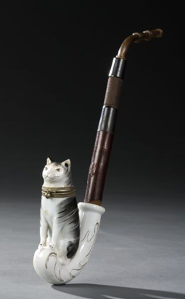 German porcelain figural cat tobacco pipe even tho i dont smoke