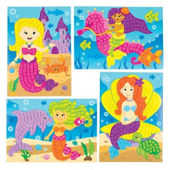 Stickersets met een mozaïekafbeelding van een zeemeermin die kinderen kunnen ontwerpen, maken en ophangen – creatieve zomerknutselset voor kinderen (verpakking van 4)