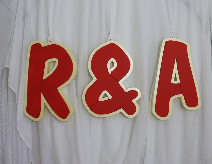 Litery ślubne, inicjały pary młodej, R&A