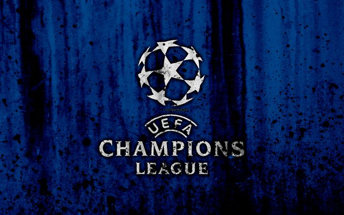 Download wallpapers UEFA Champions League, 4k, logo, grunge, blue background, UEFA Champions League logo