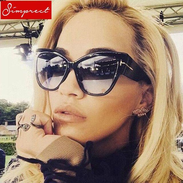 c12ac78c9b SIMPRECT Oversized Cat Eye Sunglasses Women 2019 Mirror Big Cateye Sun  Glasses Fashion Retro Brand Designer