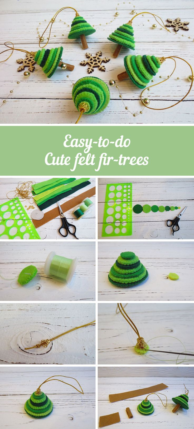 How to make tiny felt fir-trees | Mastering Christmas trees from felt