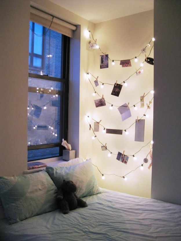 Turn clothespins and a string of lights into a unique vision board.   11 Ways To Use String Lights Anywhere But The Tree