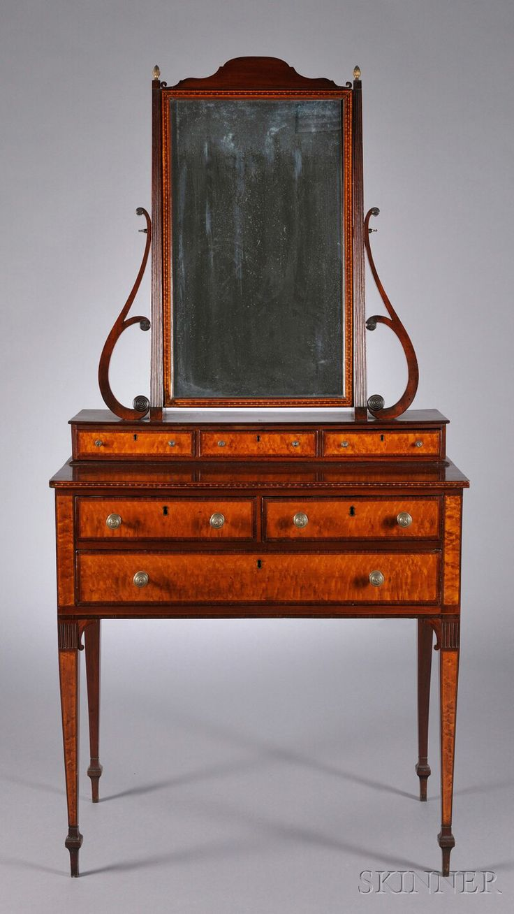 This israel sack american federal mahogany antique lolling arm chair - Federal Carved Mahogany And Bird S Eye Maple Veneer Dressing Chest With Mirror Attributed To Thomas Seymour Probably With John Seymour Boston C