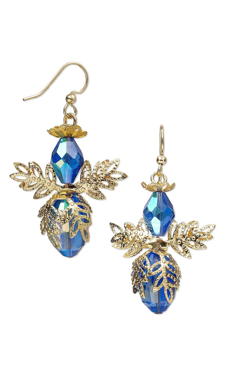 Jewelry Design - Earrings with Celestial Crystal® Beads and Gold-Plated Brass Bead Caps - Fire Mountain Gems and Beads