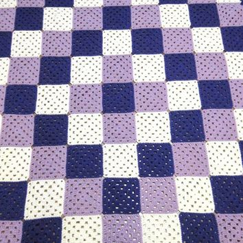 Crochet Granny Square Afghan, Purple, Lavender and White Crocheted Blanket Relay for Life Donation Lap Afghan
