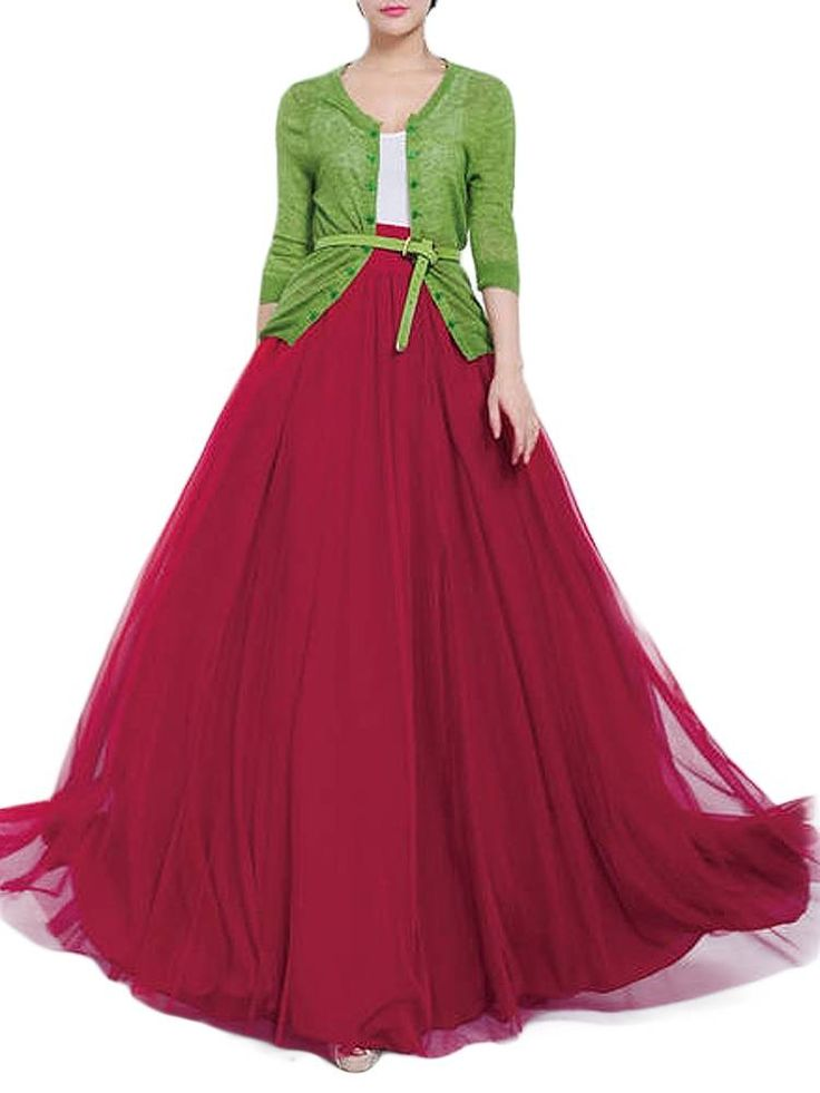 Bow Belt Solid Color Mesh Tulle Pleated High Waist Women Maxi Skirt at Banggood