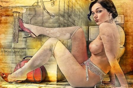 Girl In The Bathroom by marcos ramello - Photoshop Creative