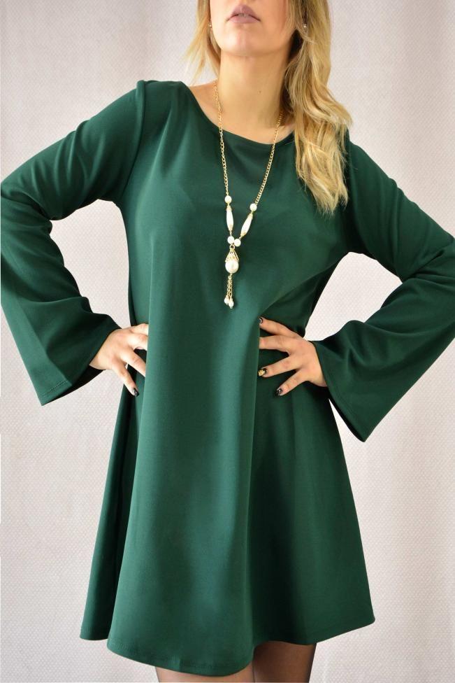 Γυναικείο φόρεμα με κολιέ  FORE-2261-gr  Φορέματα > Φορέματα 2016