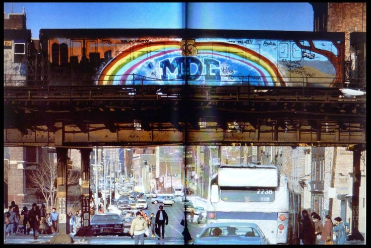 Midg from 1983, passing over St Anne St, South Bronx, from Subway Art