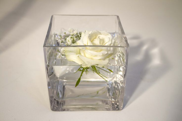 14x14 square glass container/vase for hire.