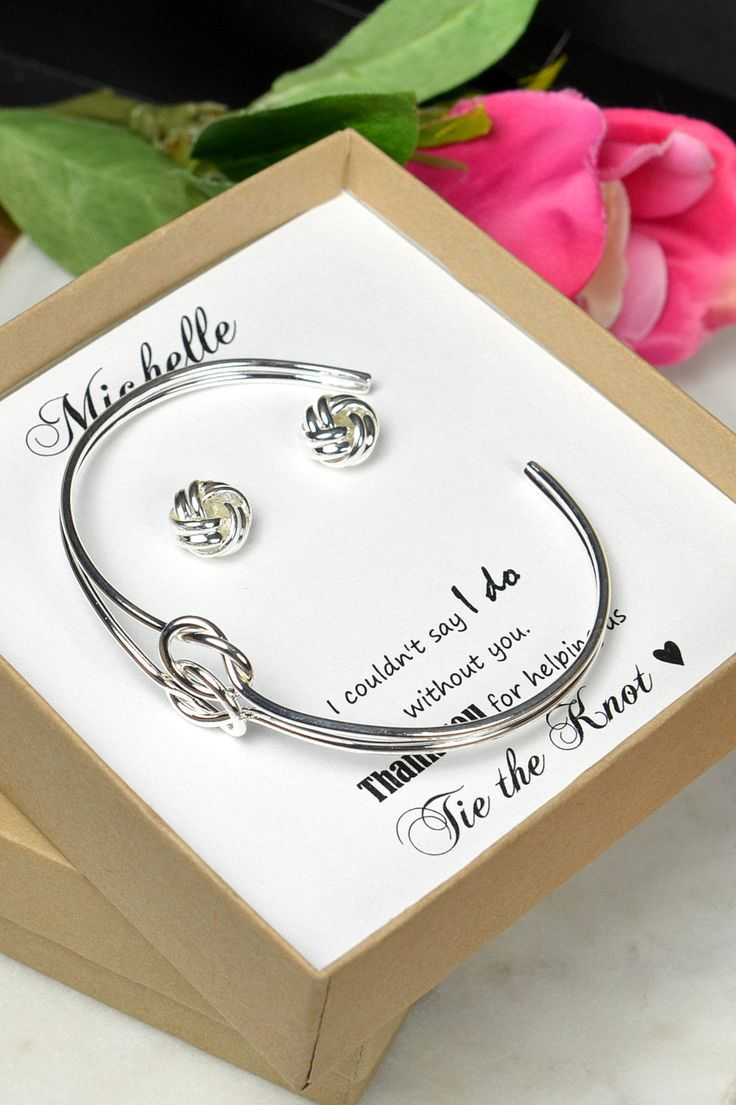 Bridesmaid Earrings ,Bridesmaid Gift, Bridesmaid Jewelry, Jewelry Gift Box, Bridesmaid Tie the Knot Earrings, Be My Bridesmaid, Bridal Party Gift   ♥ These cute little earrings are Approx 10mm in diameter ♥ they are small size and Lightweight ♥ Necklace :
