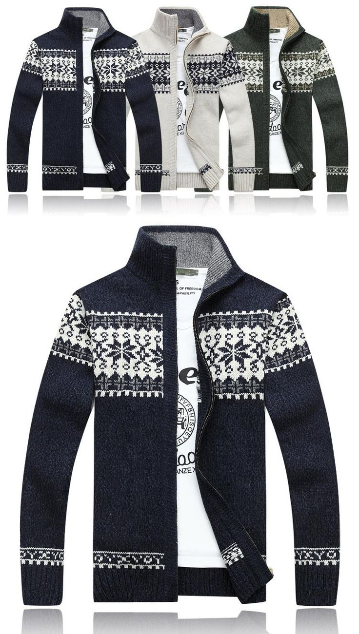 Winter Warm Thick Stand Collar Sweater Mens Casual Knitted Zipper Jacquard Cardigans at Banggood  men fashion
