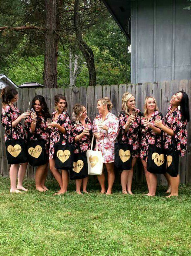 Bridesmaid robes and personalized bags