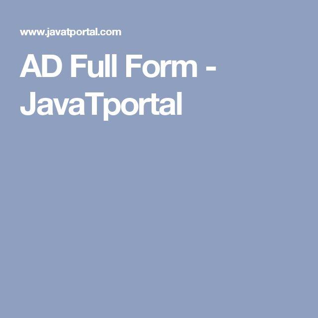 AD Full Form - JavaTportal