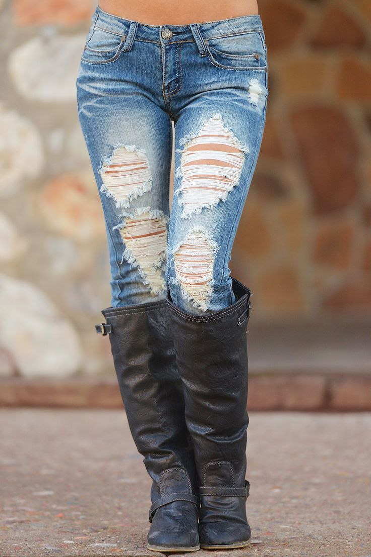 Machine Destroyed Skinny Jeans - Olivia Wash from Closet Candy Boutique