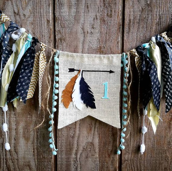 Teepee birthday highchair banner,feathers, aztec, wild one, pow wow, Tribal theme for boy or girl, arrows,garland,photo prop, high chair
