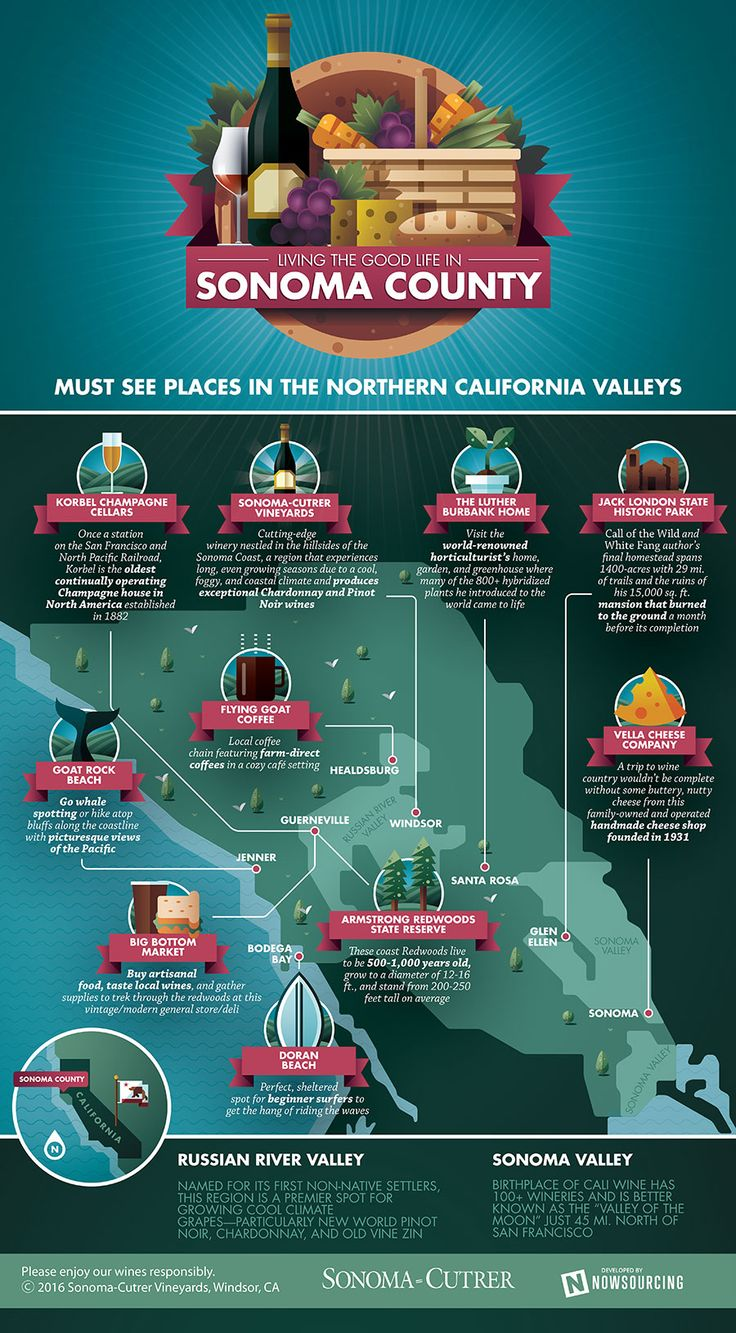 Living the Good Life In Sonoma County, California #infographic #Travel #Food…
