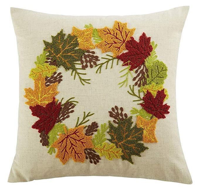 Thanksgiving Autumn Wreath Embroidery Decorations Throw Pillow Cushion Cover Mulandesigns Thanksgivingfall Throw Pillows Cushion Pillow Covers Autumn Wreaths