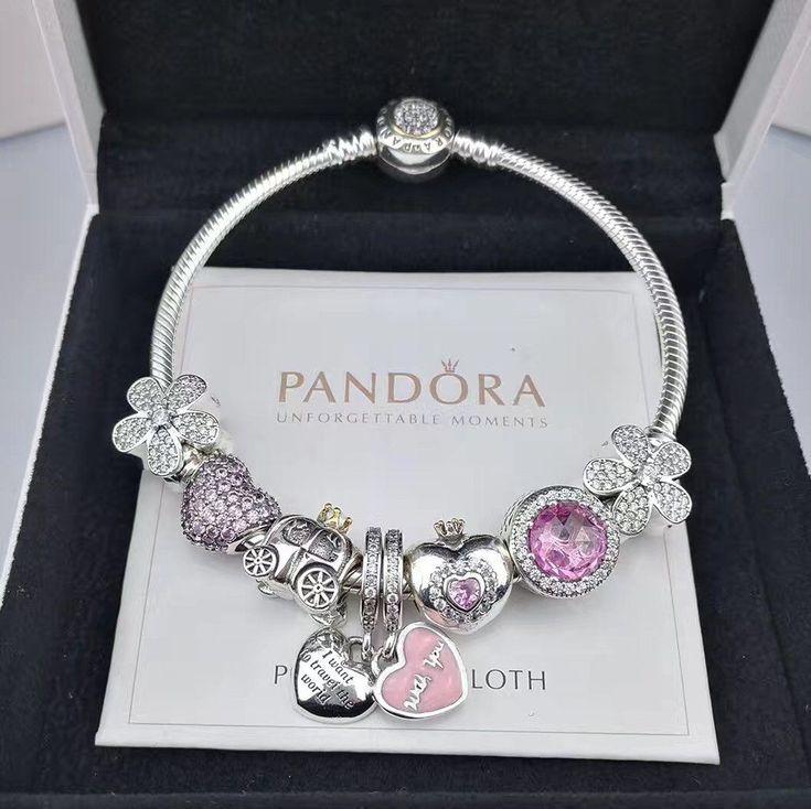 NEW pandora charm bracelet with 8pcs charms/golden head clasp