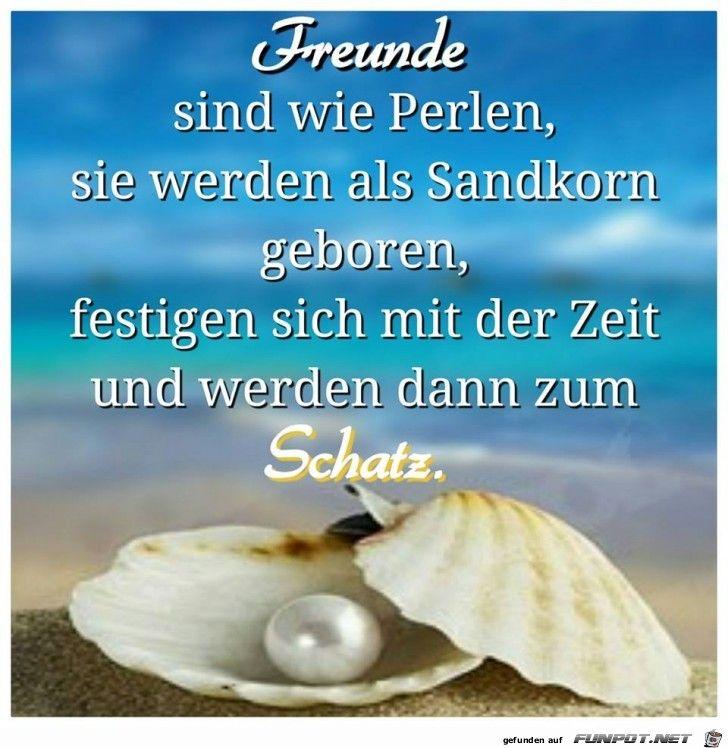 Freunde sind wie Perlen, sie werden als Sandkorn geboren, festigen sich mit der Zeit und werden dann zum Schatz.