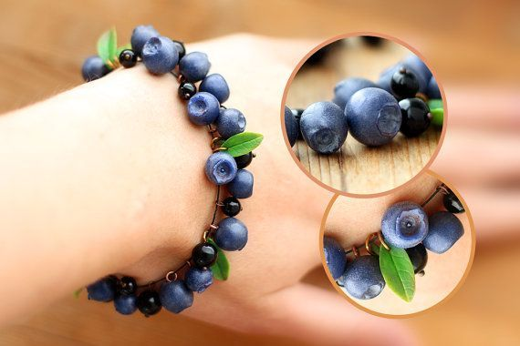Handmade blueberry bracelet. Handmade jewelry. Agate beads. Polymer clay. Berry. Summer bracelet.