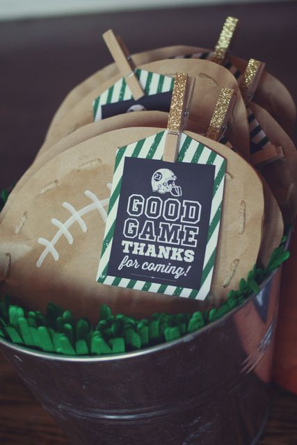 Fun favors at a Football Party! See more party ideas at CatchMyParty.com! #partyideas #football