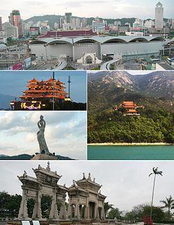 No sentido horário a partir do topo: O Gongbei Porto de Entrada e Portas do Cerco na fronteira de Zhuhai e Macau, Jintai Temple, Meixi reais Archways de pedra, estátua de Fisher Girl, Restaurant & Deyuefang em Yeli Dao.