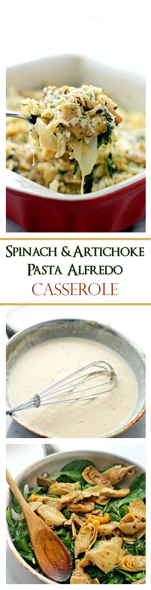 Spinach and Artichoke Pasta Alfredo Casserole | Delicious vegetarian dinner with Spinach, Artichokes and Orzo pasta mixed in a lightened-up, homemade Alfredo Sauce.