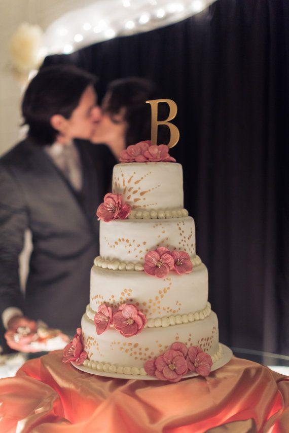 Monogram Wedding Cake Topper Letter B Initial By HopeFarmCo