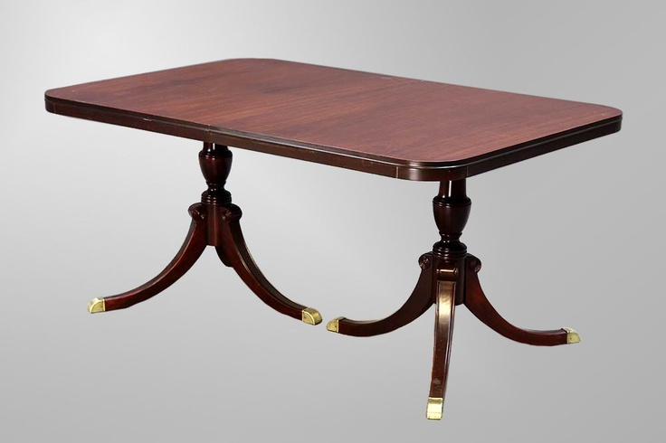 Duncan Phyfe Double Pedestal Triple Leg Dining Table