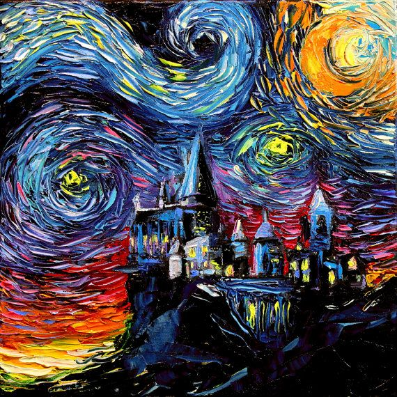 Harry Potter Art Hogwarts Castle Starry Night print van Gogh