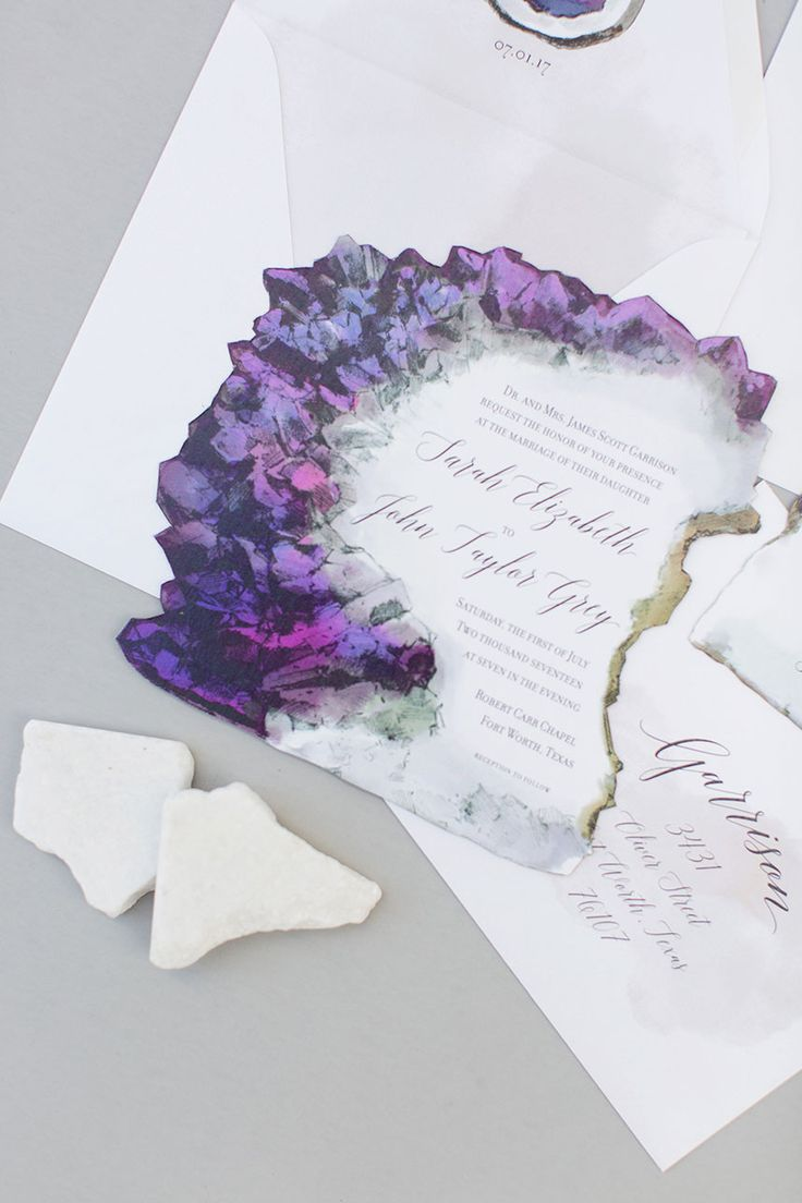 "Terrain Earth Inspired Invitation Suites - ""Amethyst Inspired"" 