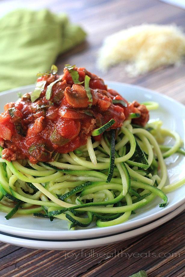 A healthy 30 minute meal that is Gluten Free & Paleo ... Zucchini Noodles w/ Meat Mushroom Tomato Sauce | www.joyfulhealthyeats.com