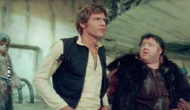 The original scene between Jabba the Hut and Han Solo in A New Hope 1977