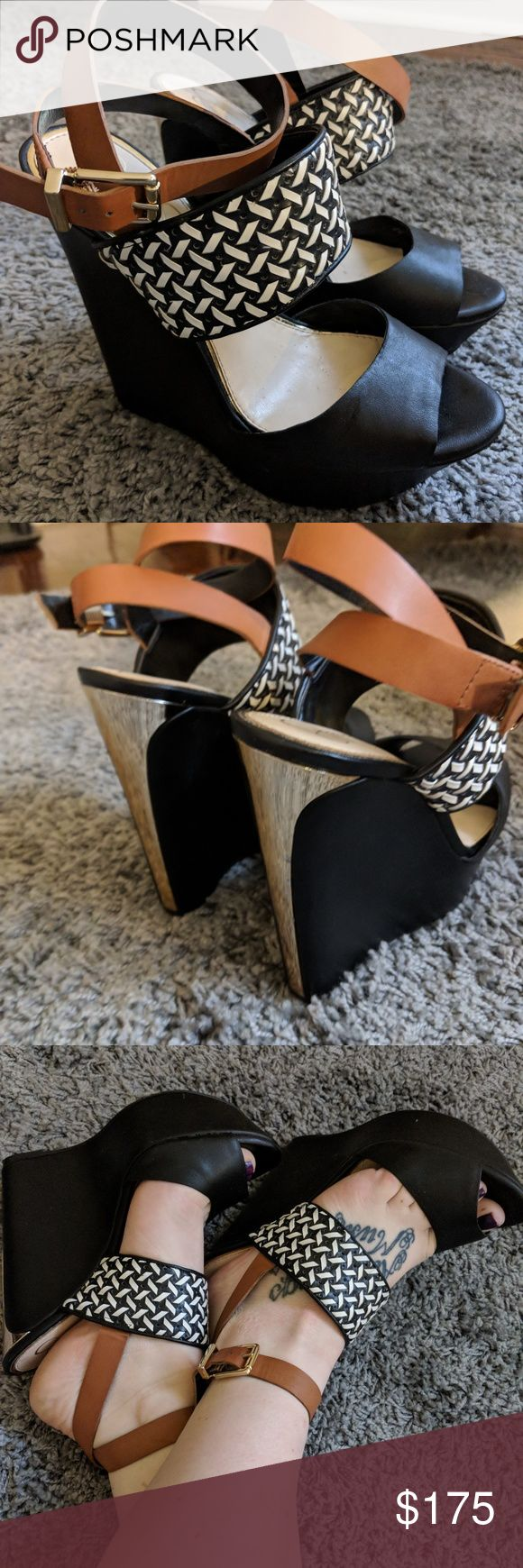 Jessica Simpson ankle strap color-block wedges I absolutely love these sexy strap wedges! Black, pattern gold and tan color block. Only worn twice. The only reason I'm selling is because the heel is a little high for my coordinative abilities. Originally bought for $200. Jessica Simpson Shoes Wedges
