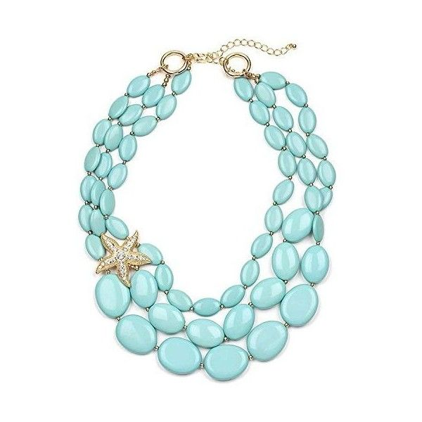 Turquoise Statement Necklace Set Yellow Gold Plated Starfish Boxed (2,575 INR) ❤ liked on Polyvore featuring jewelry, necklaces, blue turquoise necklace, turquoise jewelry, bib statement necklace, gold statement necklace and gold jewellery