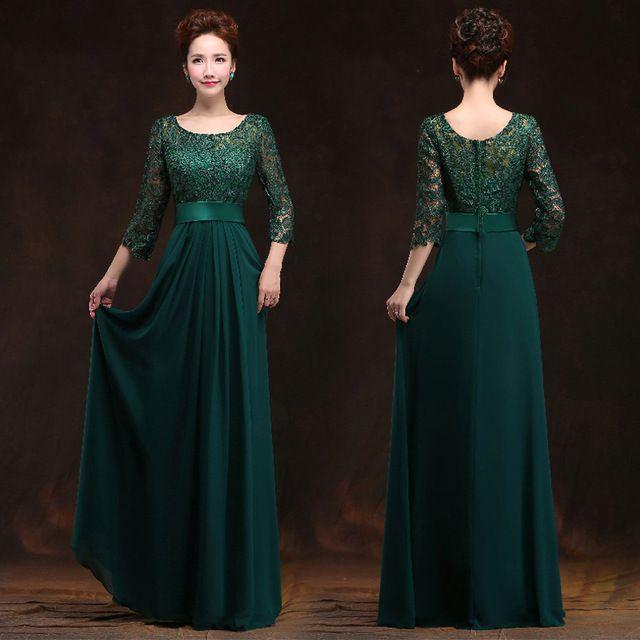 2016 New Arrival O Pescoço A-line do Assoalho-Comprimento Longo Chiffon Plus Size Mãe Dos Vestidos de Noiva Com Mangas de Renda para o Casamento