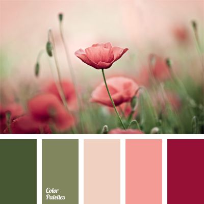 Contrast of the color of ripe cherry and olive is relaxed with pink notes and made neutral by a light gray tint. Suitable for the interior of a bathroom or a small boudoir. These shades will look good in clothes of a confident yet elegant business lady.
