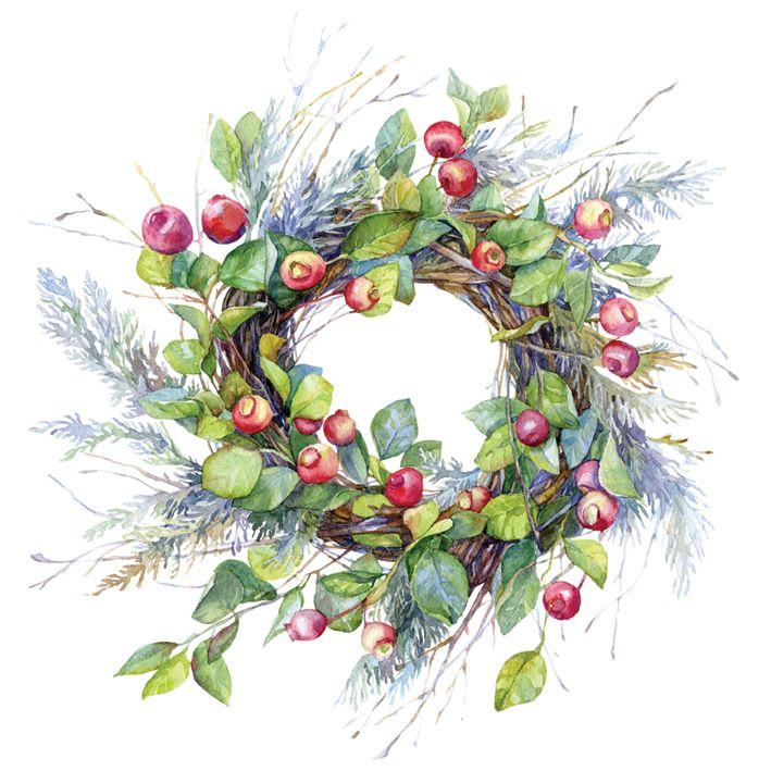 Watercolor wreath with berries by Olga Moskaleva on Creative Market