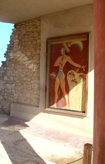 """Prince of Lilies""  Minoan fresco (1550 BC), Knossos Palace, Crete Island, Greece"