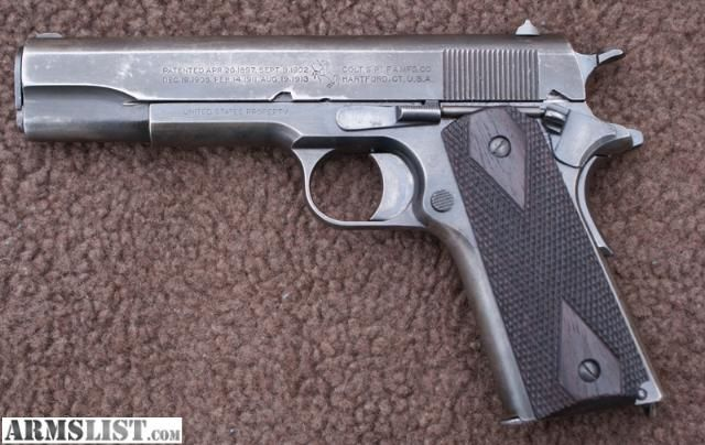 ARMSLIST - For Sale: WWI Colt 1911 .45 with Holster Made in 1918