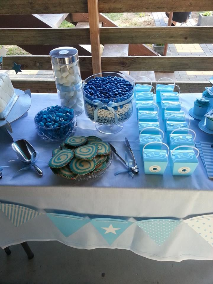 Blue and White themed lolly buffet for baby's naming day