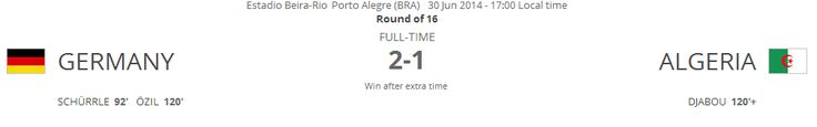 Germany 2 - Algeria 1 (Win in extra time)