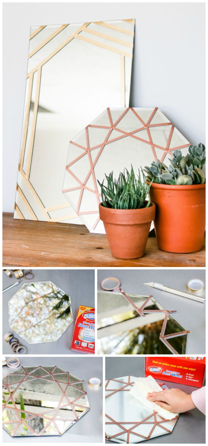 How to make a gorgeous, modern DIY mirror with washi tape! You'll just need a mirror, cute washi tape, a craft knife, and Clorox Triple Action Dust Wipes (because you want a clean mirror without getting your washi tape wet). Get more ideas for clever spring DIY hacks from @PrettyPrudent and @Clorox. #sponsored #SeasonOfClean
