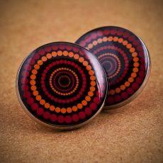 Velké náušnice pecky -  Vertigo červenooranžovočerné