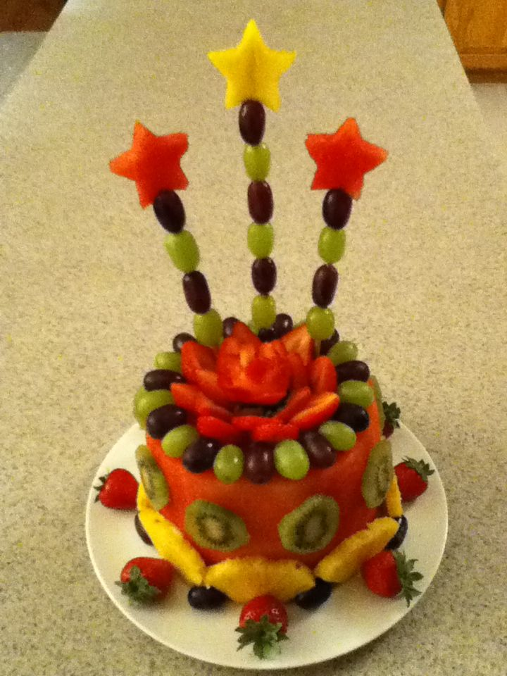 Happy 55th Birthday to my very special mom (Love you). Made this cake entirely out of fruit. Now she can have her cake and eat it to lol