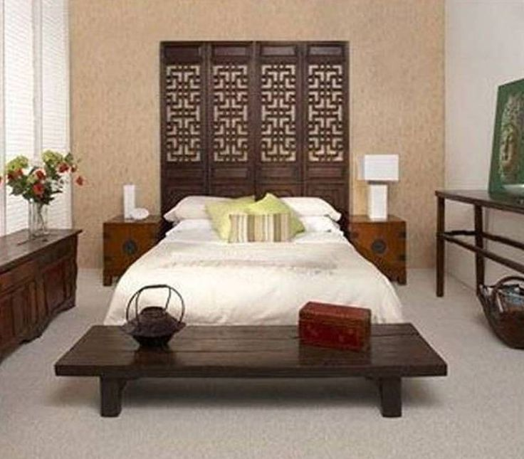 Furniture , Beautiful Asian Style Furniture : Asian Style Furniture With Bed With Divider Headboard And Wooden Bench And Nightstands And Console Table And Dresser