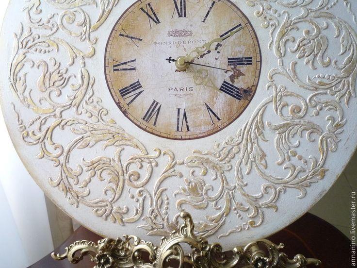 Купить Настенные часы Вальс Шебби шик в белом - белый, настенные часы, часы настенные